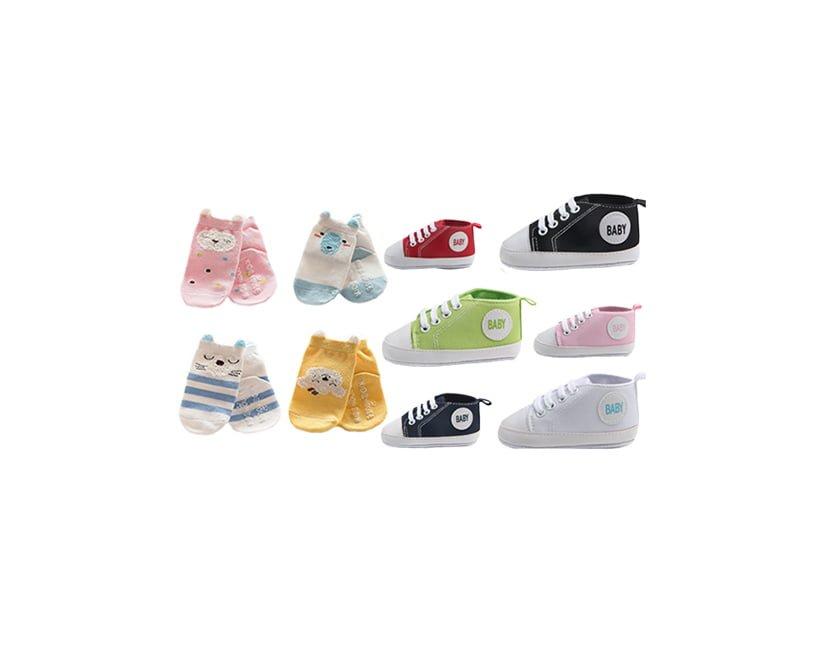 Roliga babysockan baby sockor paket med converse babyskor