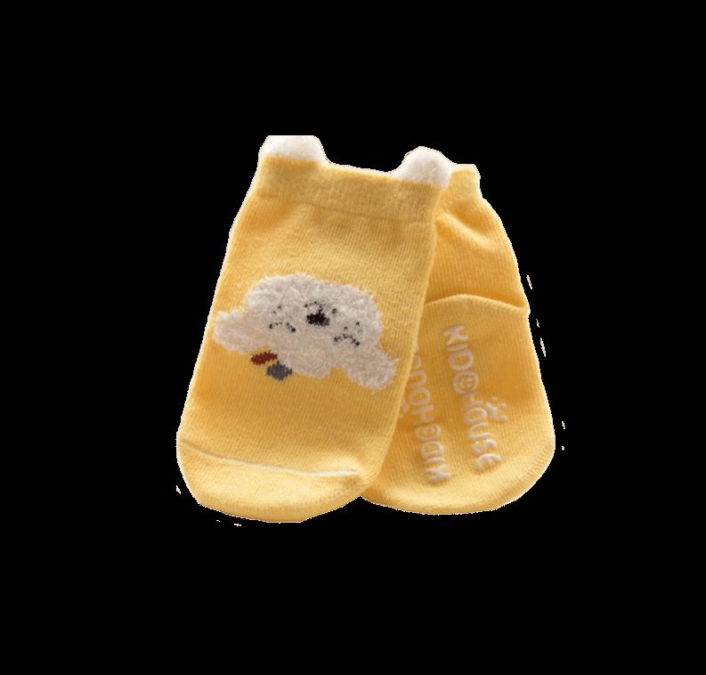 Roliga babysockan gul halkskydd combed bomull