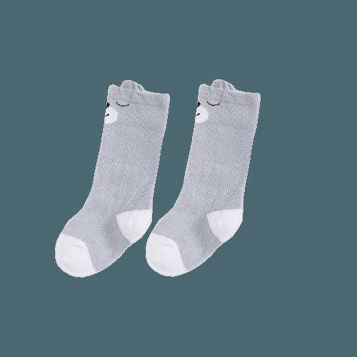 Grå knähög socka med djurmotiv