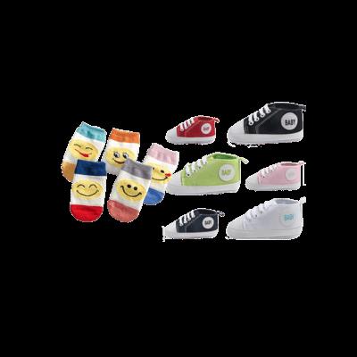 Smiley emoij babysockor baby sockor paket med babyskor